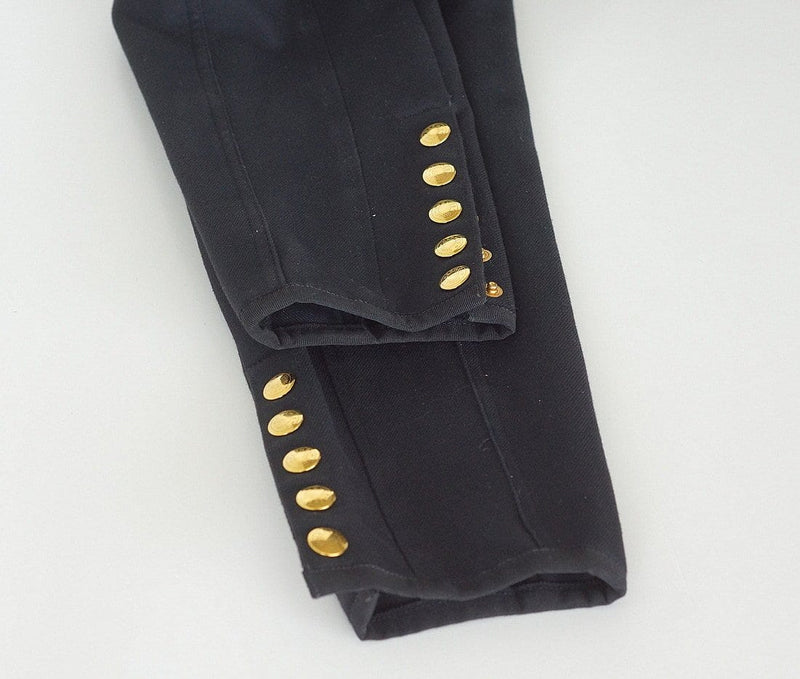 Hermes Riding Pant Black 5 Gold Embossed Ankle Snaps  38  4 Vintage Rare - mightychic
