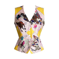 Hermes Vest Silk Scarf Print Le Monde Du Polo Pink  40 / 6 - mightychic