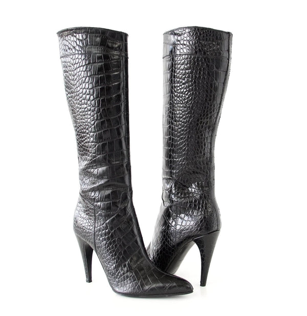 Prada Boot Sleek Rich Black Crocodile Knee High 37 / 7 - mightychic