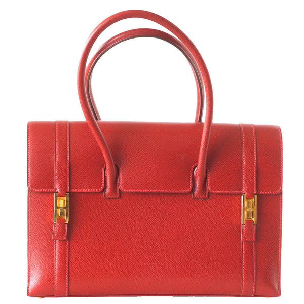 Hermes Vintage Drag Bag 32 Rouge Vif Gold Hardware  Rare - mightychic