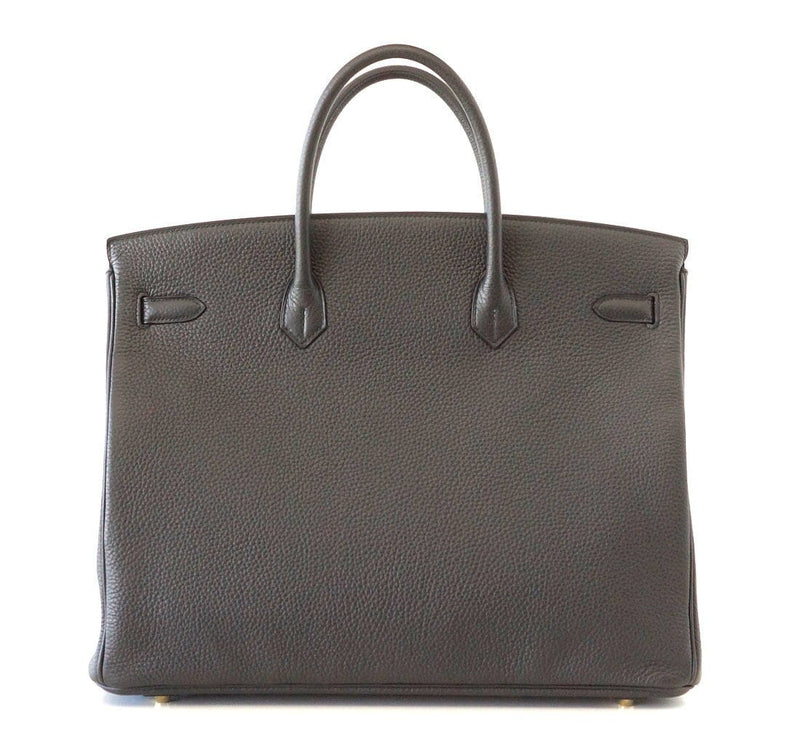 Hermes Birkin 40 Bag Plomb Togo Gold Hardware New Colour Off Black - mightychic