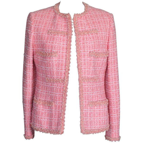 Chanel 95C Jacket Vintage Pink w/ White Ribbon  44 / 8 - mightychic