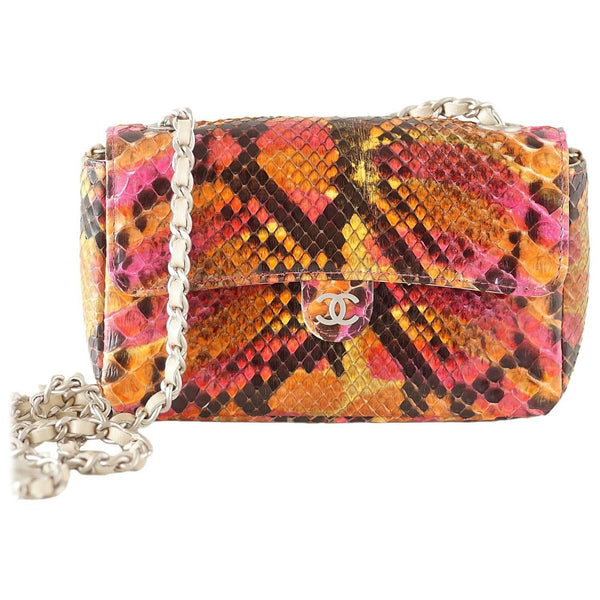 Chanel 00T Runway Mini Flap Multi Coloured Snakeskin Bag Clutch Cross Body - mightychic