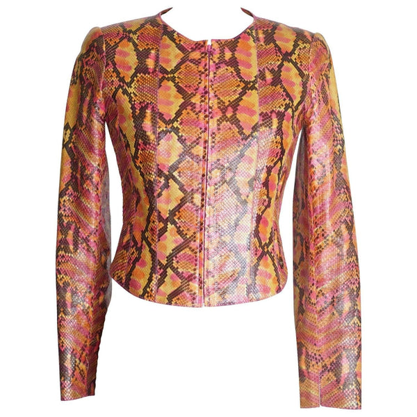 Chanel 00T Jacket Runway Sold Out Multi Colored Snakeskin 36 / 6 - mightychic