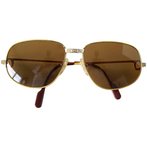 Cartier Vintage Santos Sunglasses Rare Style with Red Case - mightychic