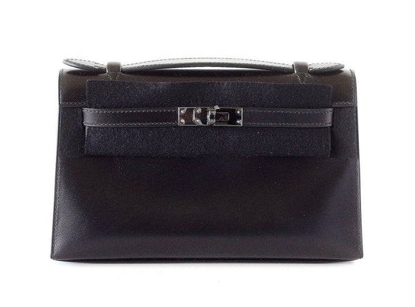 Hermes Kelly Pochette Clutch Bag Limited Edition So Black Box Leather Very Rare - mightychic