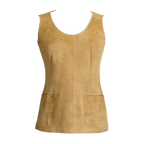 Chanel 99A Top Sleeveless Suede Vest 38 / 4 - mightychic