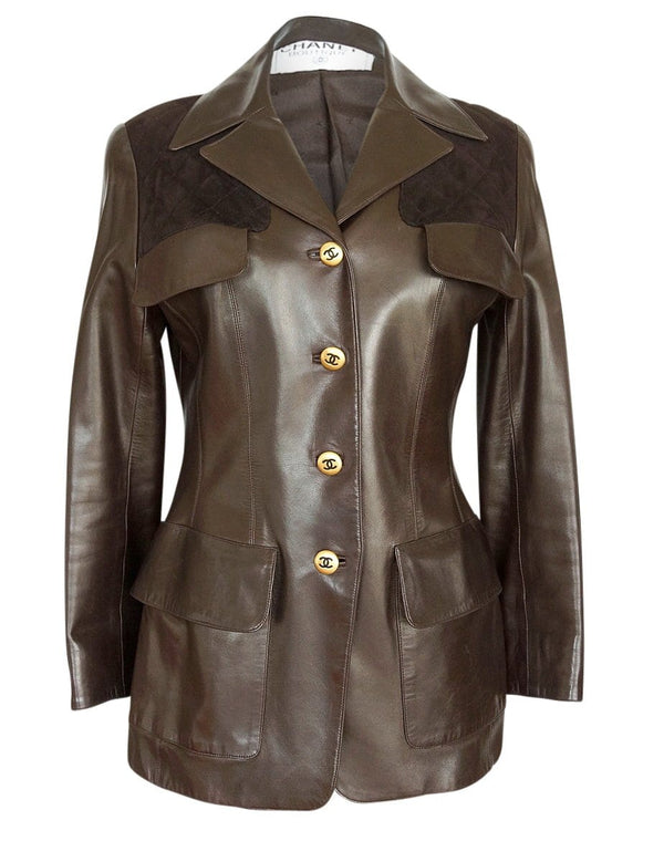Chanel Jacket Leather With Suede Lots CC Buttons Rear Button Vent Vintage 40 / 6 - mightychic