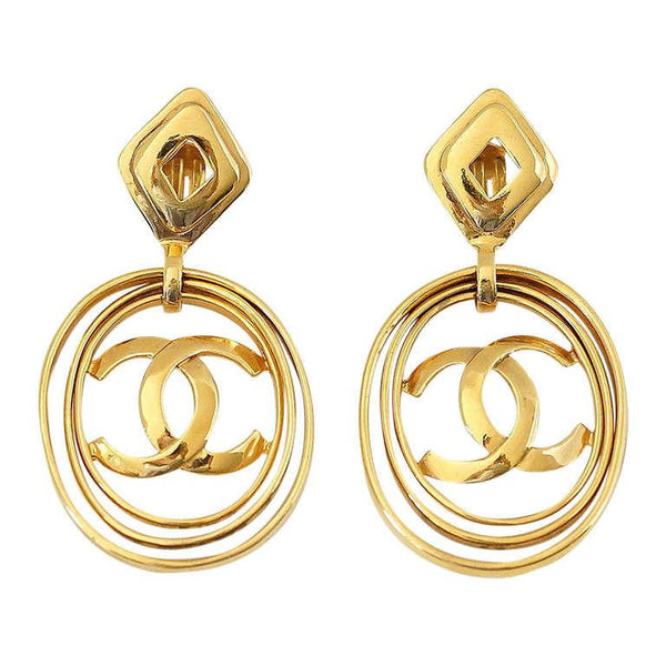 Chanel Earrings Vintage Hoops Worn 3 Ways Bold And Fabulous Rare - mightychic