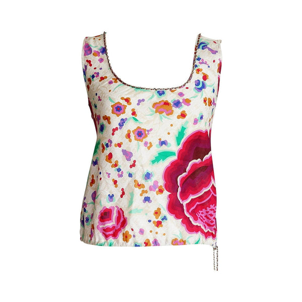 Chanel 04P Top Lush Flower Print Lots CC Signature Chain Detail 40 fits 4 to 6