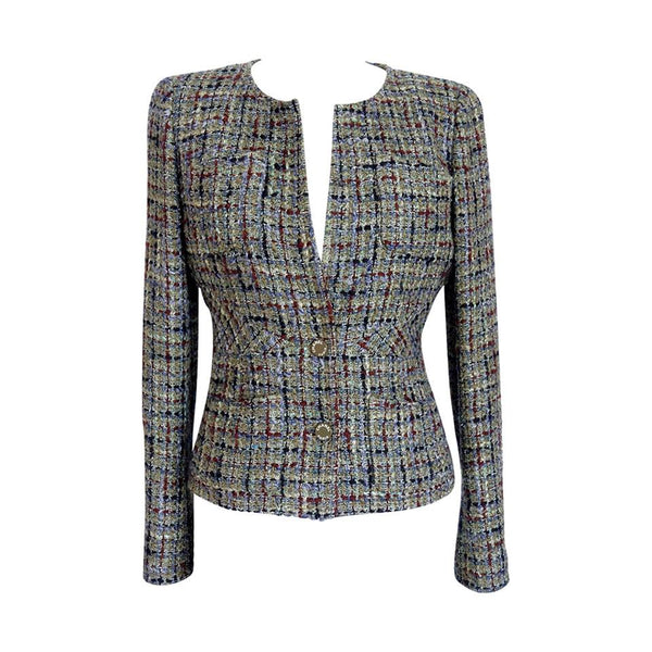 Chanel 03P Jacket Rich Olive Toned Fantasy Tweed 40 / 6