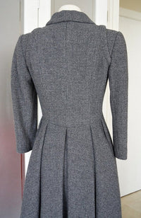 Chanel 06A Coat / Dress Gray Tweed 3/4 Sleeve Striking Rear Detail  nwt - mightychic