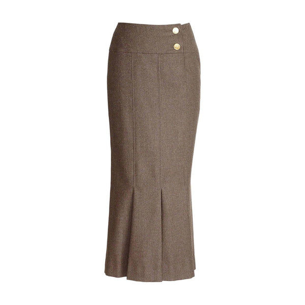 Chanel Vintage Skirt Box Pleat Hem No5 Buttons Heathered Brown  36 4 - mightychic