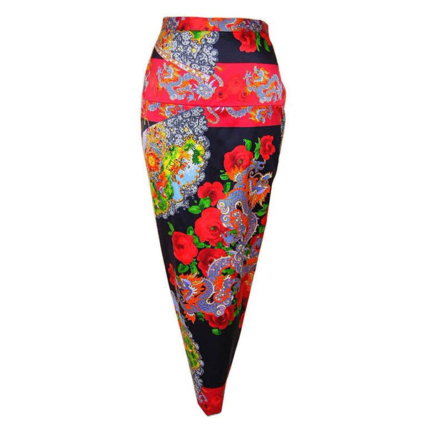 Dolce&Gabbana Skirt Exotic Asian Print Roses Superb Rear Detail 40 / 6