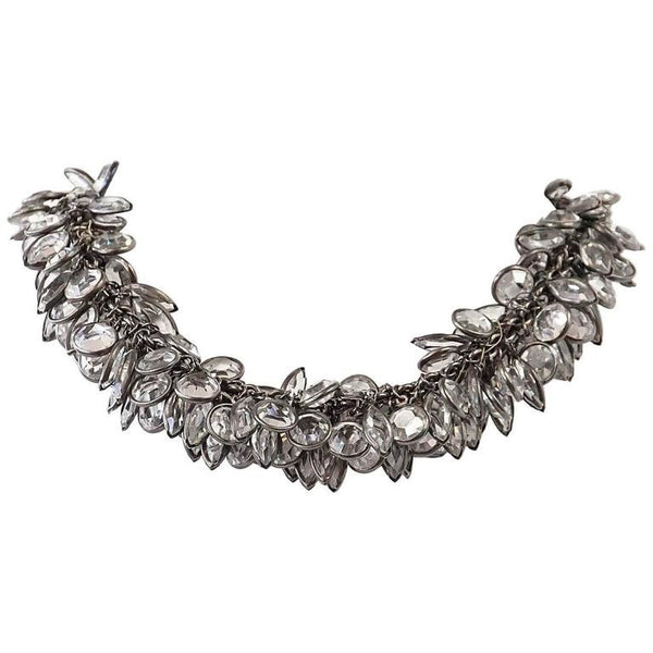 Vintage Art Deco Influenced Lush Crystal Choker Necklace - mightychic