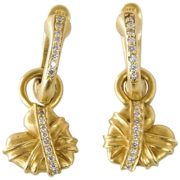 Barry Kieselstein-Cord Earrings Drop Heart 18K Gold Signature Green Gold