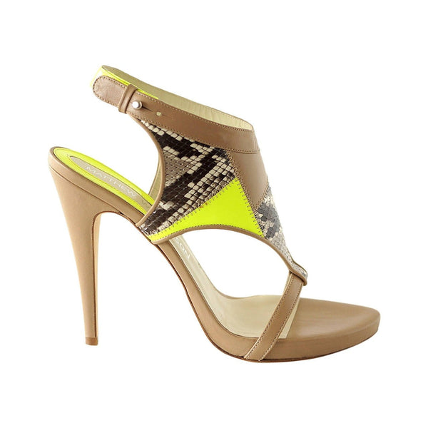 Matthew Williamson Shoe Nude Leather Snake Green Neon Patent 39 / 9