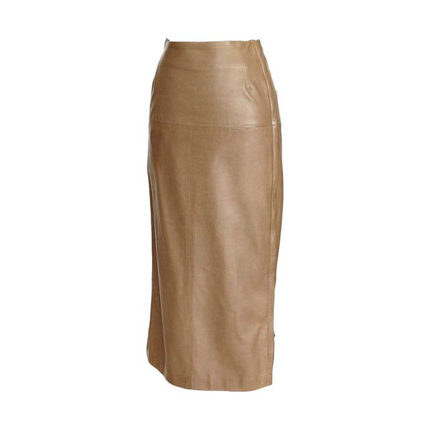 Hermes Skirt Soft Leather w/ Full Length Side Zippers Leather Toggles 38 / 6