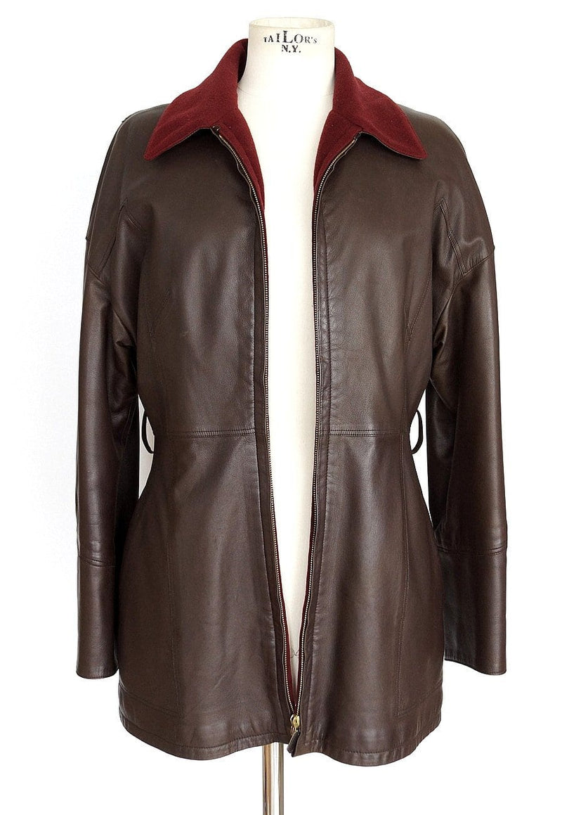Hermes Jacket Brown Leather Burgundy Lined Cashmere/Wool Vintage 38 / Fits 6 8 - mightychic