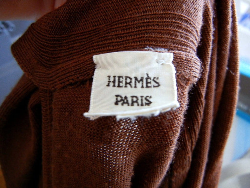Hermes Top Scarf Tie Neck Brown M - mightychic