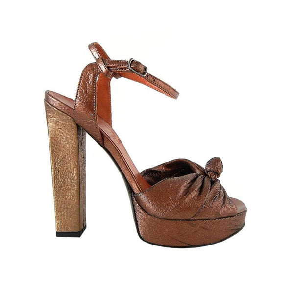 Lanvin Shoe Bronzed Gold Laser Cut Platform Open Toe 39 / 9 - mightychic