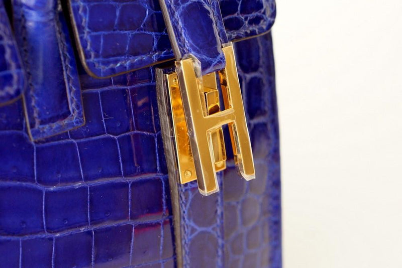 Hermes Drag Bag 26 Blue Electric Crocodile Gold Hardware VERY Rare - mightychic