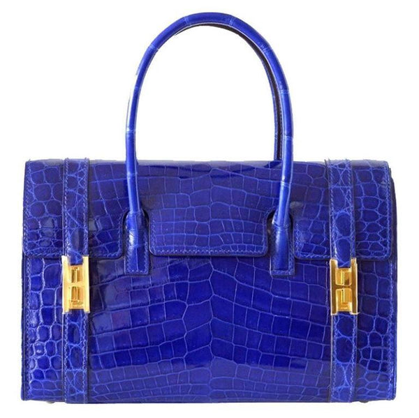 Hermes Drag Bag 26 Blue Electric Crocodile Gold Hardware VERY Rare
