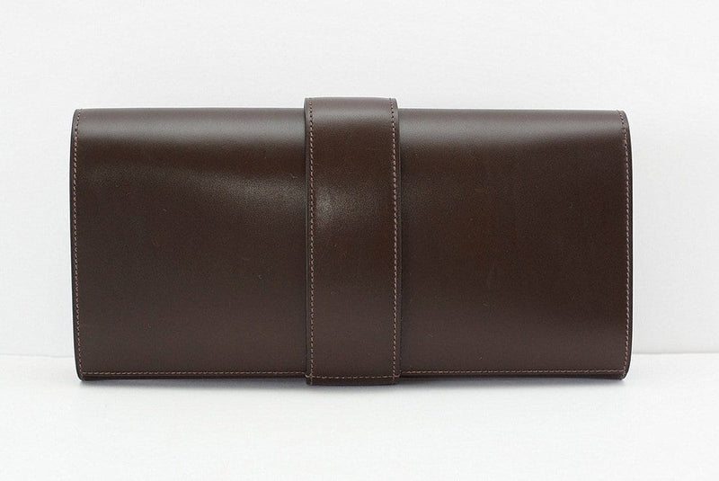 Hermes Medor Clutch Bag Chocolate Box Leather Palladium - mightychic