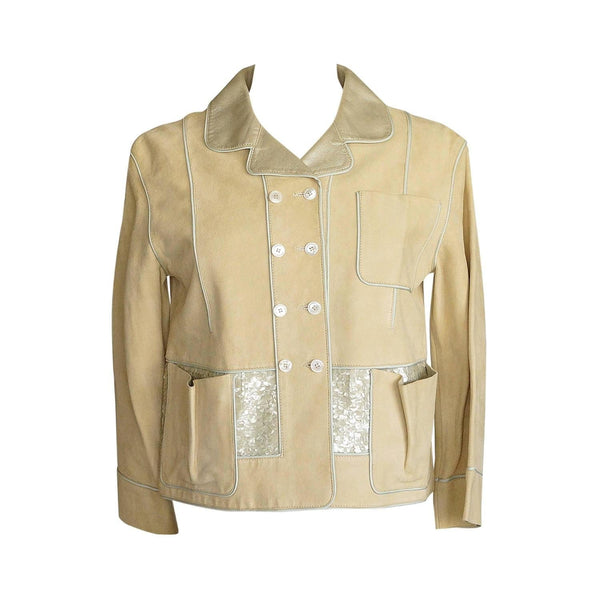 Louis Vuitton Jacket Adorned Suede Paillettes Gold Leather 34 / 4  do peek - mightychic