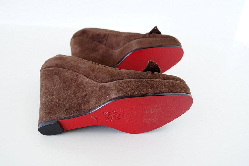 Christian Louboutin Shoe Rich Suede Platform Wedge 37.5 / 7.5 - mightychic