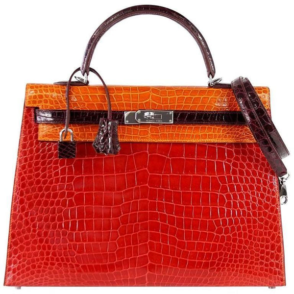 Hermes Kelly 35 Bag Tri Color Horseshoe Porosus Crocodile Palladium - mightychic