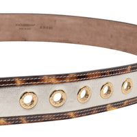 Dolce&Gabbana Belt Divine w/ Silver Leather Leopard Trim Gold Grommets new 90 cm