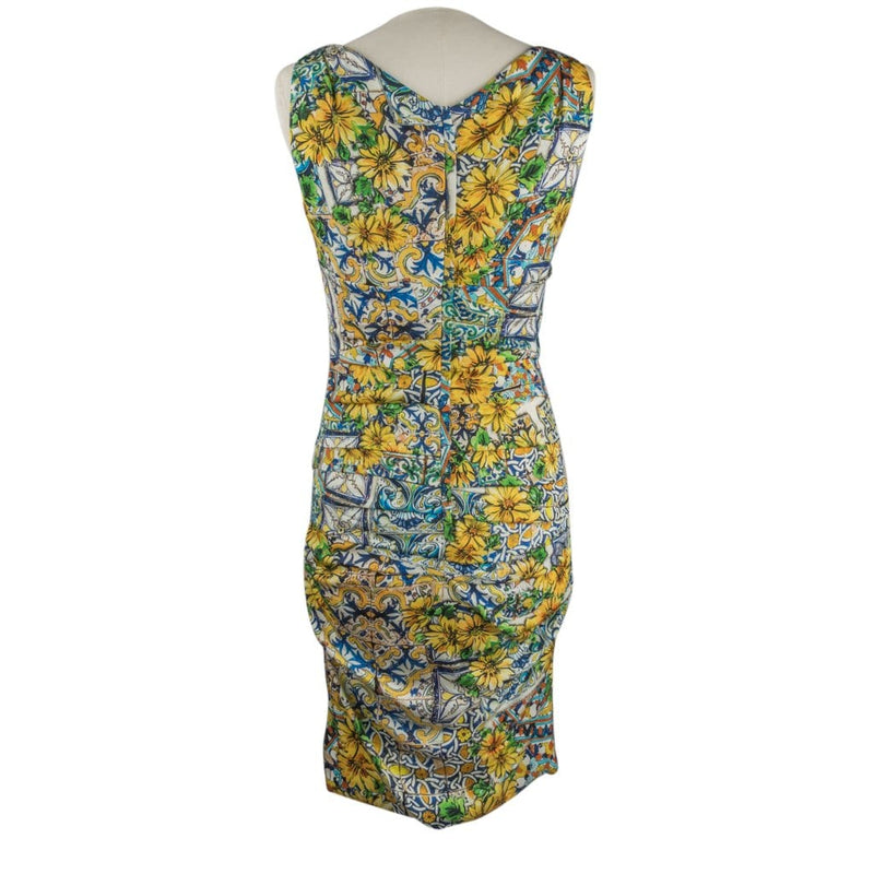 Dolce&Gabbana Dress Floral Majolica Print V-Neck 44 / 8
