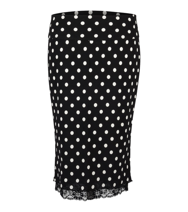 Dolce&Gabbana Skirt Polka Dot Lace Trim Stretch Pencil  38 / 4 - mightychic