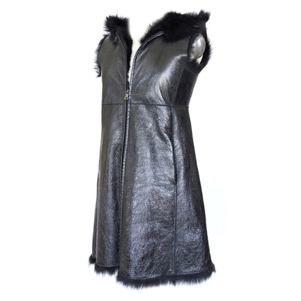 Prada Vest Knee Length Patent Leather Shearling Sheep Fur Lining  42 / 6