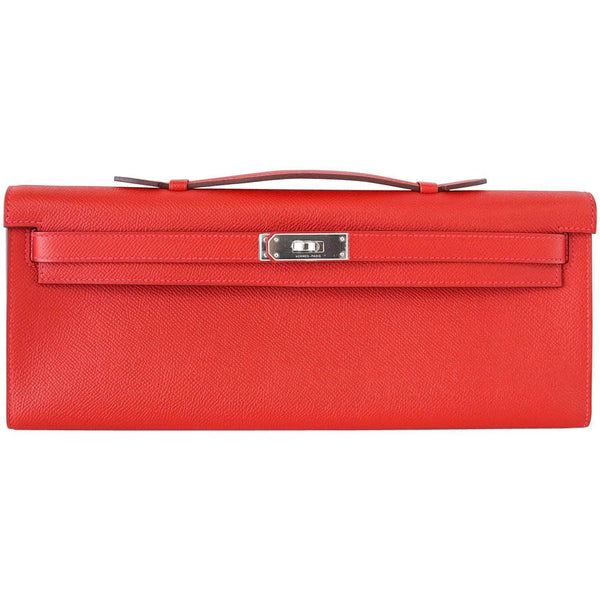 Hermes Kelly Cut Bag Clutch Rouge Casaque Epsom Palladium