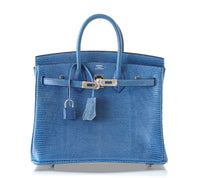 Hermes Birkin 25 Bag Mykonos Very Rare Lizard Palladium Hardware - mightychic