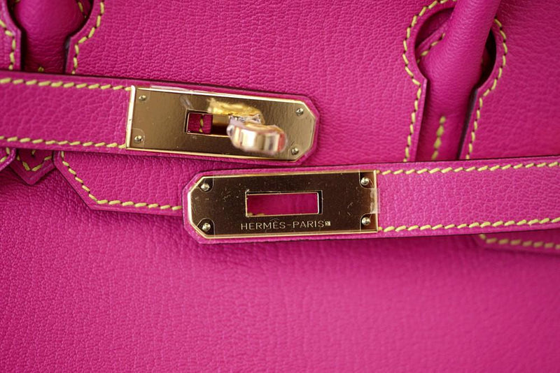 Hermes Birkin 30 Bag Rose Tyrien / Lime Chevre HSS - mightychic