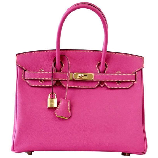 Hermes Birkin 30 Bag Rose Tyrien / Lime Chevre HSS