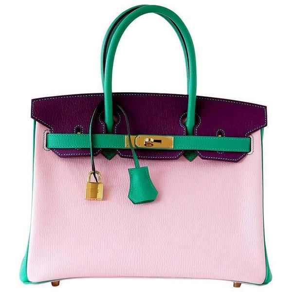 Hermes Birkin 30 Bag Tri-Color HSS Rose Sakura Anemone Bamboo Chevre Gold
