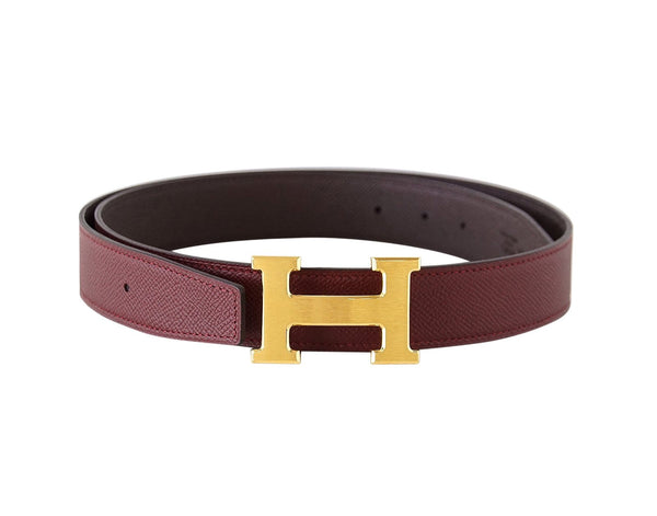 Hermes Belt H Constance 32 Rouge H / Chocolate Reversible Brushed Gold Buckle 85