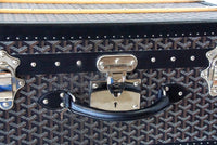 Goyard Trunk Palace 55 Black and Brown Signature Monogram Palladium Fittings - mightychic