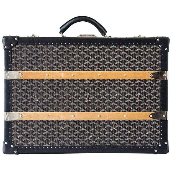 Goyard Trunk Palace 55 Black and Brown Signature Monogram Palladium Fittings