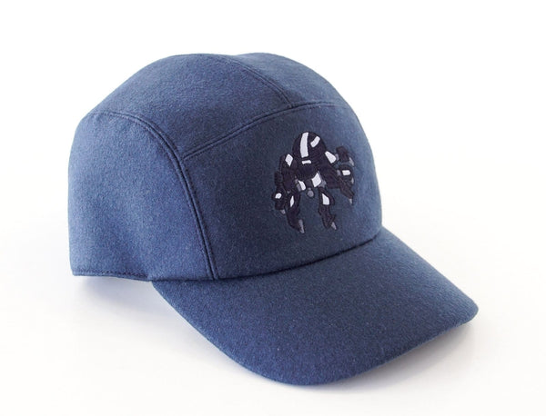 Hermes Men's Hat Cashmere Spider Robot Limited Edition Navy Cap - mightychic