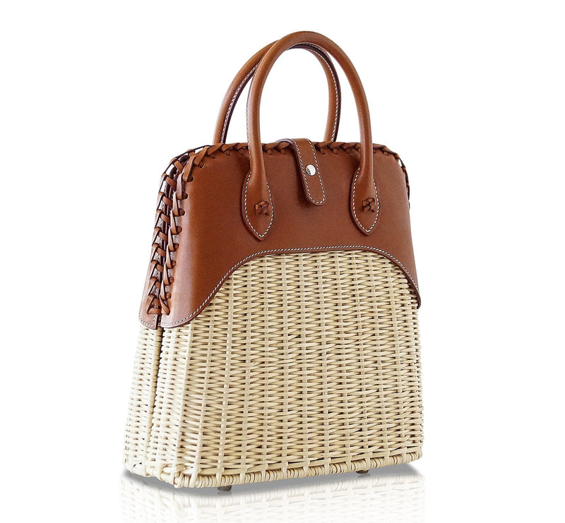 Hermes Bolide Picnic Bag Osier Wicker Barenia Limited Edition - mightychic