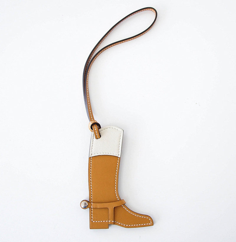 Hermes Paddock Botte Equestrian Boot Sable and Craie Bag Charm - mightychic