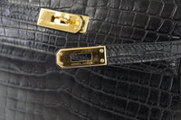 Hermes Kelly Danse Bag Matte Black Crocodile Rare Limited Edition - mightychic