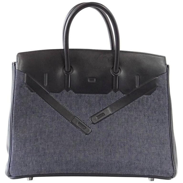 Hermes Birkin 35 Bag Rare Limited Edition Shadow Denim