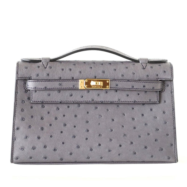 Hermes Kelly Pochette Clutch Bag Ostrich Gris Agate Gold Hardware