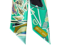 Hermes Twilly Rare Modernisme Tropical Green Filipe Jardim Set of 2 - mightychic